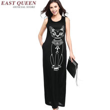 Dress with cat women dress cat long black sundress KK1266