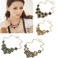 New Beauty Fashion Jewelry Hot Sell Necklace Gift Pendant Wedding Imitation Rinestone Girl Collar Red Green Colorful Wholesale