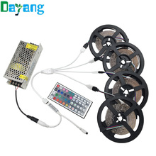 Non waterproof RGB LED Stripe 15m 20m 3528 set include 44keys IR controller +DC 12V power supply 60LEDs/M tiras led diode lamps(China)
