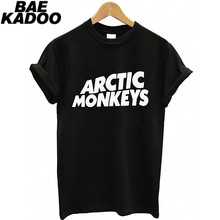 BAEKADOO Hipster Girl Punk Black Top ARCTIC MONKEYS Funny Print Short Sleeves T-shirt(China)