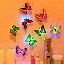 10 Pcs Wall Stickers Butterfly LED Lights Wall Stickers 3D House Decoration Wall Stickers For Kids Rooms 3d Wall Stickers(China)