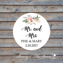 Personalized MR & MRS Wedding Bottle Sticker,Cupcake Toppers,Wedding Favors Tags ,Lables, Candy Box Tags CUSTOM Wedding Sticker(China)