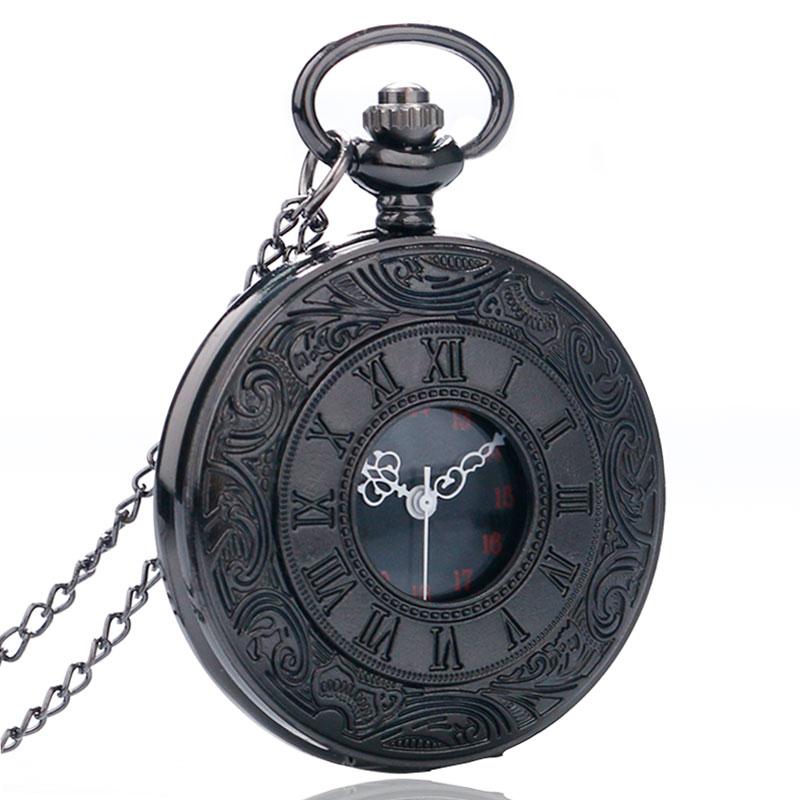 Vintage Black Unisex Pocket Watch Gift Set Fashion Roman Number Quartz Steampunk Christmas Women Man Necklace with Gift Box (4)