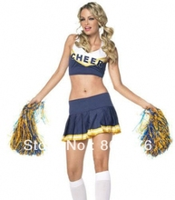 Free shipping Girls Cheerleader Uniform School Girl Costume Full Outfits Fancy Dress Costume top+skirt 2pcs 4 colors S-3XL