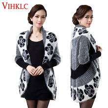2016 Spring Autumn Women Korean Fashion Flower Mohair Knit Shawl Cardigan Sweater Jacket Medium Long Sweaters Plus Size 3XL G413