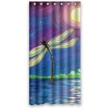 Creative Dragonfly Art At Moon Night Fabric Shower Curtain Hook Attached 36w*72h inch