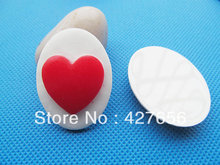 10pcs 30mmx40mm Oval Flatback Resin Red Heart Relief Cabochon Cameo Charm ,Fit Base Setting Tray Bezel,DIY Jewellery Accessory