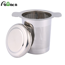 Tea Infuser Strainer Reusable Tea Filter Mug with Lid and Double Handles for Loose Leaf Grain Teapot, Stainless Steel Mesh