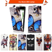 High quality fashion cartoon pattern flip up and down leather case for Nomi i503 Jump,Free gift