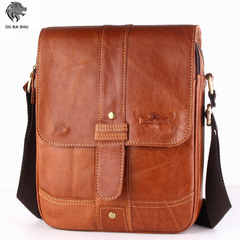 OU BA SHU Fashion Genuine Leather Messenger Bags Zipper Design High Quality Small Male Bags Brown Solid Trunk Casual Travel Bags<br><br>Aliexpress