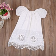 New Adorable Infant Girls Summer Dresses Toddler Kids Girls Short Sleeve Clothes Girl Casual Dress White Cotton Blend Sundress