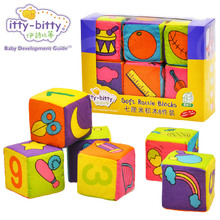 Itty-bitty 6 Piece Baby Rattle Building Soft Blocks Cloth Digit Cubes Educational Learning Toys for Children Kids Baby Gift Set(China)