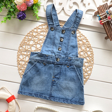 Free shipping 2016 Spring new baby denim dress good quality fashion design baby girls overall dress A350