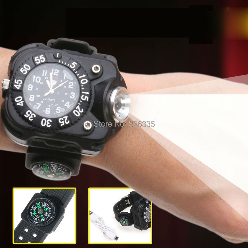 5 Modes Q5 LED Wrist Watch Rechargeable Flashlight Torch USB Charging Wrist Model Tactical Flashlight(China)