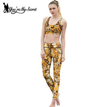 [You're My Secret] Autumn Yellow Style 3D Print Butterfly Flower Leggings Women High Waist Soft Fitness Legging Slim Lady Pants