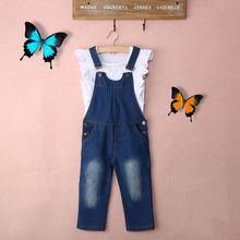 Vest + Jeans Girl Summer Clothes Set Dungarees Vest Tops White Overalls Denim Sleeveless Outfits Children Clothes Fall(China)