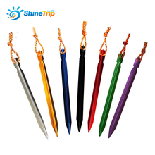 ShineTrip 10 Pcs Aluminument Tent Pegs with Rope Stake Camping Hiking Equipment Outdoor Traveling Tent Accessories 18CM(China)