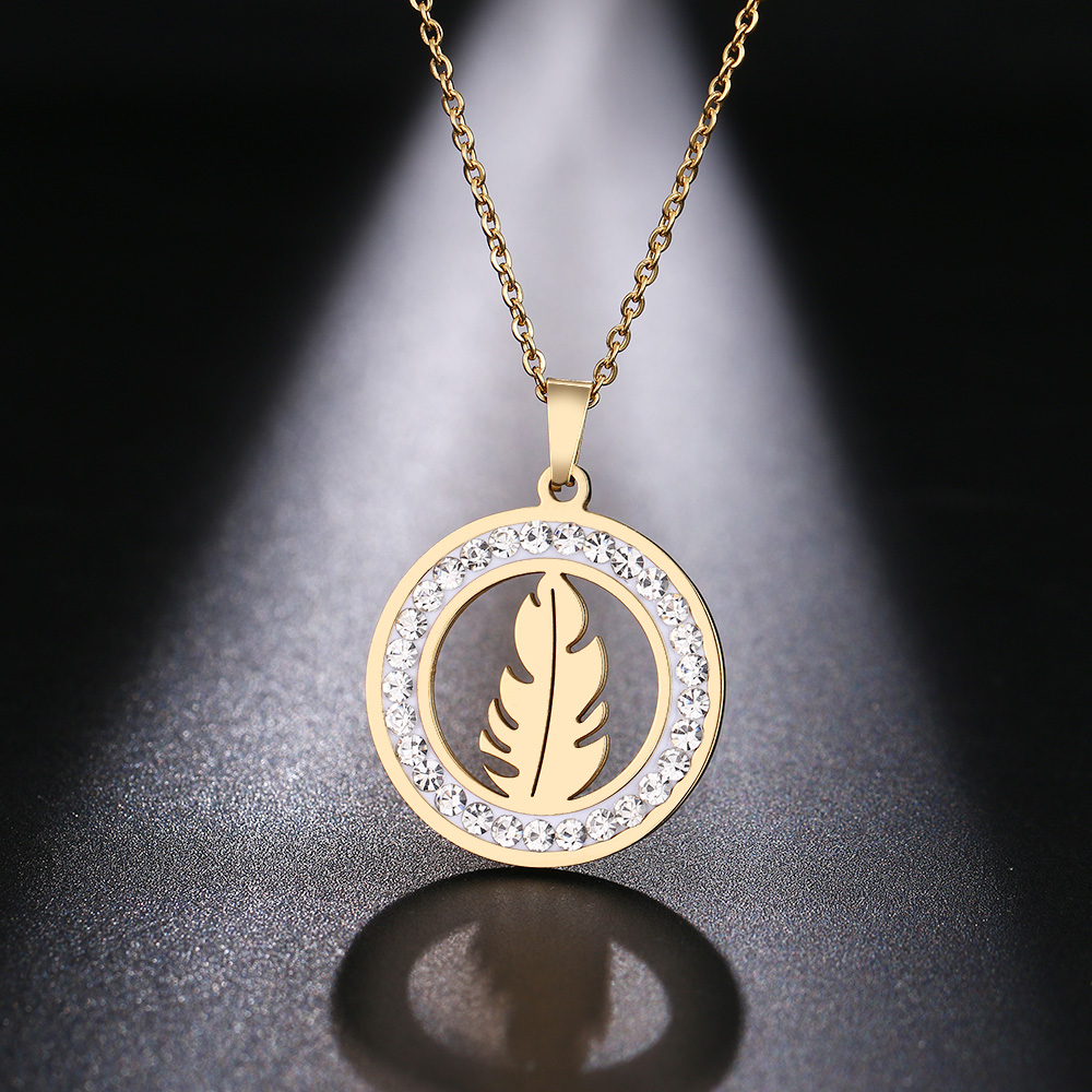 Cacana Stainless Steel Crystal Round Pendants Necklace Women Jewelry Feather Trendy Necklaces Donot Fade Valentine's Day Gift (4)
