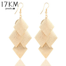 Buy 17KM New Fashion Elegant Gold Color long Tassel drop earrings Geometry Square Earrings jewelry Wholesale women for $1.19 in AliExpress store