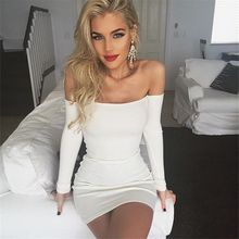 Buy DoreenBow Long Sleeve Dress Womens Clothing Spring Autumn Dresses Women Sexy Dresses Shoulder Ruffle Bodycon Dress White for $10.88 in AliExpress store