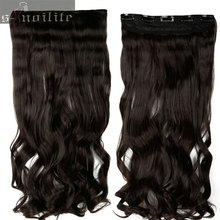 Long Women Lady Clip in on Hair Extension half full head real thick hair Extentions 18-28 inches Curly Wavy Synthetic Hair(China)