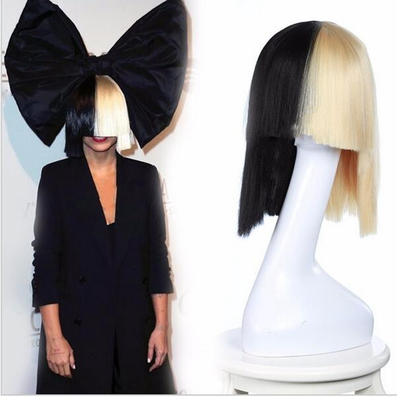 sia this is acting sia wig bow short bobo wigs cosplay black blonde wig straight cheap heat resistant synthetic wigs ombre hair <br><br>Aliexpress