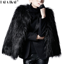 LALA IKAI Women Winter Black Fur Coat Long Sleeve Faux Fur Outerwear Lady Short Style Fur Jacket Brand 8 Colors Coats SWQ0080-5(China)