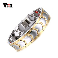 "Vnox DIY Adjustable Length 8""-9"" Stainless Steel Chain Magnetic Health Care Bracelet Men Jewelry free Gift Box(China)"