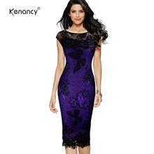 Kenancy S XXL 5XL Plus Size 2017 Women Pencil Dress Summer Fashion Exquisite Sequins Crochet Butterfly Lace Party Bodycon Dress(China)