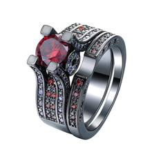 Luxury vintage black gun Rings Sets new fashion Red jewelry gift crown flower princess czech zircon Engagement Ring for love