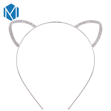 M MISM Women Fashion Sliver Color Crystal Rhinestone Mouse Ear Headband Wedding Photography Portrait Style Cat Ear Hair Hoop