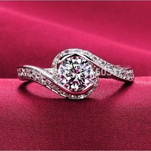 Fashion Jewelry Nice Jewellery Lady's Cz 5A Zircon stone 925 Sterling silver cross Wedding finger Ring Sz 5-10 Free shipping