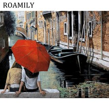 ROAMILY DIY Unframed Wall Canvas Oil Painting Young Lovers Watch The Beautiful Scenery In Rain By Numbers
