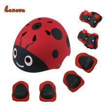 LANOVA Lovely Protective Gear Set Kids Beetle helmet Knee Elbow Pads Wrist Protector Protection for Scooter Cycling Roller Skate