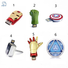 KRY flashing lights US captain U disk 4GB 8GB 16GB 32GB 64GB metal Avenger Union Iron Man flash memory card USB2.0 flash drive(China)
