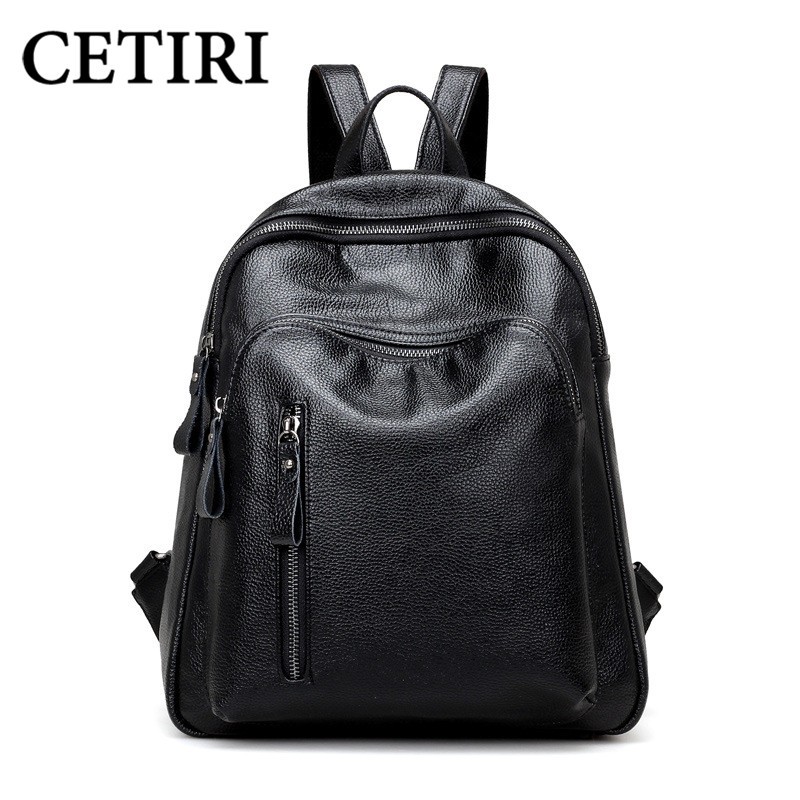 CETIRI Small Lightweight Daypack Women Backpack Pu Leather bagpack Black School Bookbag For Girls Travel Backpack Solid Mochila<br>