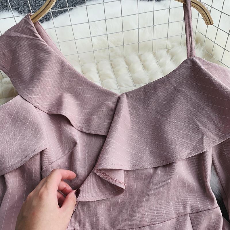 Spring Summer Jumpsuit for Woman Women's 2019 New Heart Machine Lotus Edge V-neck Long Sleeve High-waist Stripe Short Overalls 16