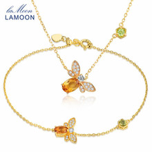 LAMOON Animal Bee Natural Citrine Jewelry Set 925 Sterling Silver 2Pcs/Sets Vintage Wedding Jewelry Necklace Bracelet For Women