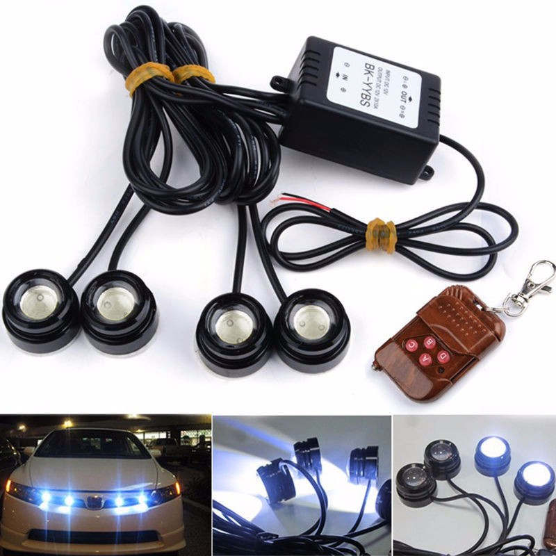 One to Four Strobe Flash Eagle Eye LEDs Car Light with Wireless Remote waterproof DRL warning light led car reversing light<br><br>Aliexpress