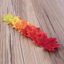 50pcs Maple Fall Autumn Romantic Leaves Leaf Short Stems Foliage Wedding Party Favour Home Artifical Decor Craft