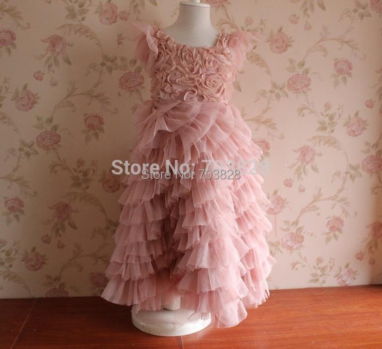 Free shipping Retail !  Pink Rosette sleeveless Baby Girls floral summer ball gowns wedding dress Kids Flower summer party dress<br><br>Aliexpress