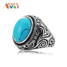 AMGJek 22mm Vintage Titanium Steel  Black Blue Turquoises Stone Ring For Men Women Wedding Rings Jewelry Bague US Size 7-14 F016