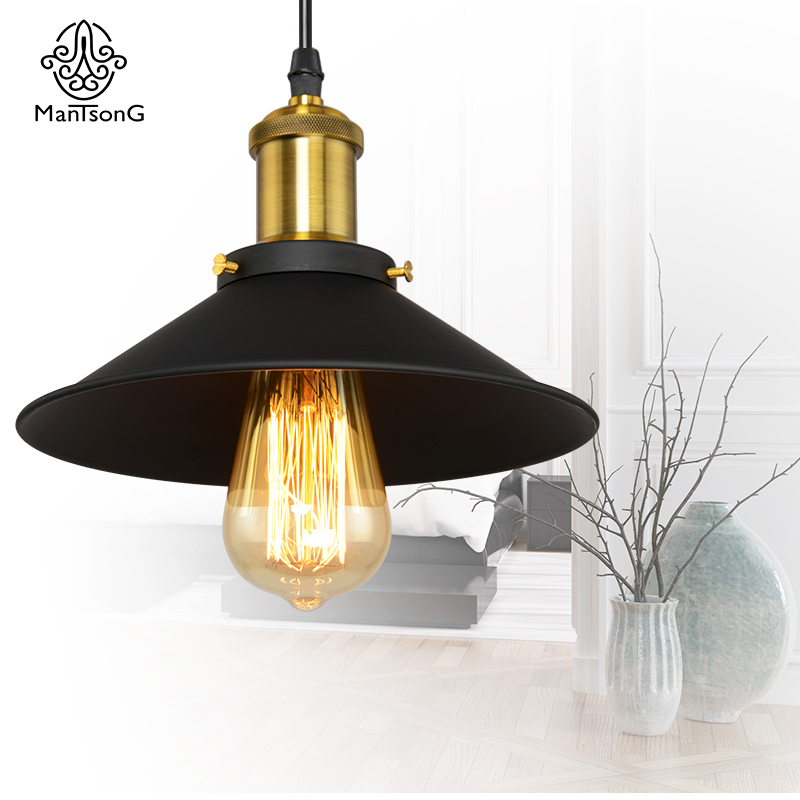 Loft Black Iron Pendant Light Vintage LED E27 Bulb Recommend Industrial Kitchen 1 Head Lights Retro American Style Lamp<br>