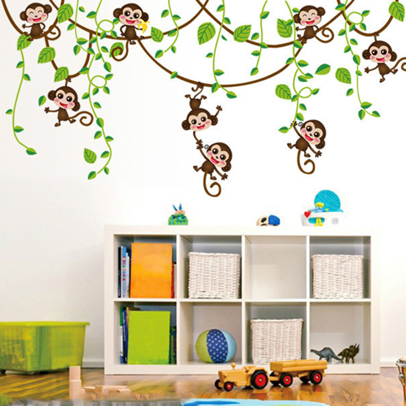 HTB1TckISpXXXXamXXXXq6xXFXXXl - Monkeys Vinyl Tree Wall Stickers For Kids Rooms