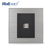 2017 Hot Sale COM Socket Wallpad Luxury Wall Switch Network Outlet Black / Champagne AC 110-250V(China)