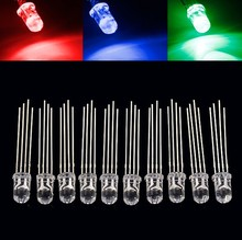 50PCS 5mm full-color LED RGB red/green/blue Common Cathode/Anode Four feet transparent highlight color light 5mm diode colorful
