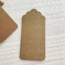 100Pcs DIY Kraft Paper Tags Brown Rectangle Label Luggage Wedding Note Blank price Hang tag Kraft Gift 4.5X9.5cm