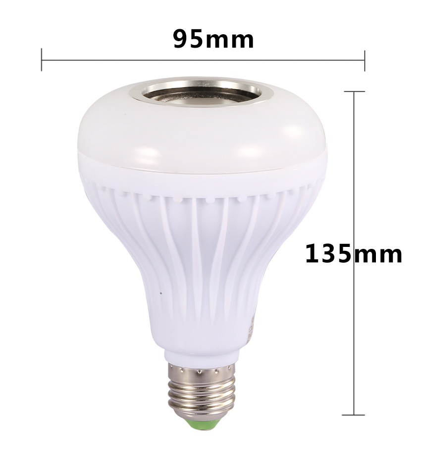 Smart E27 RGB Bluetooth Speaker LED Bulb Light 12W Dimmable RGBW Wireless Music Playing Leds Lamp with 24 Keys Remote Control