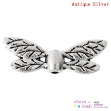 "Doreen Box hot- Charm Beads Dragonfly Wings Antique Silver 22mm x 8mm( 7/8"" x 3/8""),Hole:Approx 1.3mm,100PCs (B31808)"