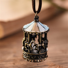 2017 vintage women jewelry statement necklaces & pendants,cotton rope carousel long necklace women accessories collares mujer(China)